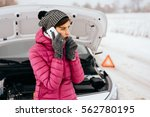 young woman calling for help or ... | Shutterstock . vector #562780195