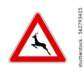 wild animals crossing road sign | Shutterstock .eps vector #562793425