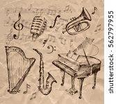 set of hand drawn musical...   Shutterstock .eps vector #562797955