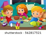 a vector illustration of kids... | Shutterstock .eps vector #562817521