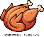 cartoon roasted chicken. vector ... | Shutterstock .eps vector #562817641