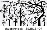 Decorative Curly Style Trees and Plant for Design. Vector Creation Kit. Abstract Tree Set