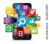 smart phone apps search concept.... | Shutterstock .eps vector #562821685