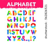 hand drawn alphabet. vector... | Shutterstock .eps vector #562826521