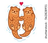Cute Cartoon Otter Couple...