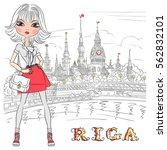 cute beautiful fashion girl in...   Shutterstock .eps vector #562832101