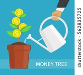 human hand watering money... | Shutterstock .eps vector #562835725