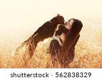 beautiful girl with long black... | Shutterstock . vector #562838329