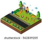 isometric school playground on... | Shutterstock .eps vector #562839205