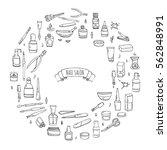 hand drawn doodle nail salon... | Shutterstock .eps vector #562848991