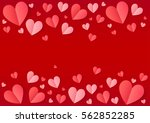 pink folded paper hearts frame... | Shutterstock .eps vector #562852285