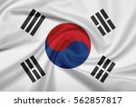 South Korea Flag With Fabric...