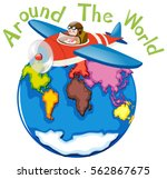 around the world by airplane... | Shutterstock .eps vector #562867675