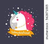 vector baby unicorn. kids... | Shutterstock .eps vector #562871005