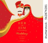 indian wedding invitation card... | Shutterstock .eps vector #562874281