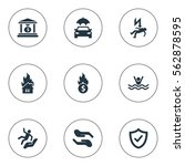 set of 9 simple safeguard icons.... | Shutterstock .eps vector #562878595
