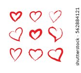 red brushstroke hearts set.... | Shutterstock .eps vector #562884121