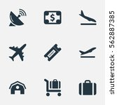 set of 9 simple airport icons....