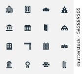 set of 16 simple architecture... | Shutterstock .eps vector #562889305