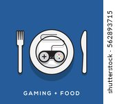 gaming and food concept.... | Shutterstock .eps vector #562893715