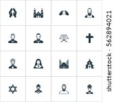 set of 16 simple faith icons.... | Shutterstock . vector #562894021