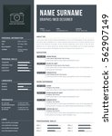 modern a4 one page resume... | Shutterstock .eps vector #562907149