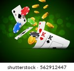 poker chips casino green poster.... | Shutterstock .eps vector #562912447