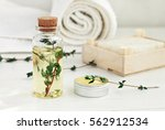 thyme oil skincare. bottle of... | Shutterstock . vector #562912534