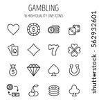 set of gambling in modern thin... | Shutterstock .eps vector #562932601