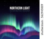 winter sky with polar lights... | Shutterstock .eps vector #562945009
