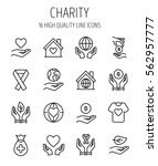 set of charity icons in modern... | Shutterstock .eps vector #562957777