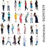 collection back view people.... | Shutterstock . vector #562957879