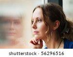 sad beautiful woman looking... | Shutterstock . vector #56296516