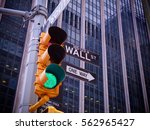 view on wall street yellow... | Shutterstock . vector #562965427