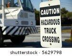 Hazardous Truck Crossing Sign - stock photo