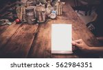 white label on the table.  | Shutterstock . vector #562984351