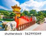 golden pagoda of nan lian... | Shutterstock . vector #562995049
