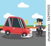 monkey police stopping car | Shutterstock . vector #562995505