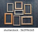 vintage frames on old wooden... | Shutterstock . vector #562996165