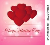 valentines day card with heart  ... | Shutterstock .eps vector #562999885