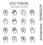 set of head thinking icons in... | Shutterstock .eps vector #563003239