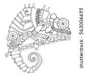 steampunk style chameleon....   Shutterstock .eps vector #563006695