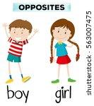 opposite words for boy and girl ... | Shutterstock .eps vector #563007475