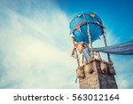 smiling boy in a balloon | Shutterstock . vector #563012164