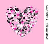 pink heart shape with hearts...   Shutterstock .eps vector #563013991