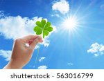sunlight and four leaf clover | Shutterstock . vector #563016799