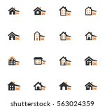houses icon set for web sites... | Shutterstock .eps vector #563024359
