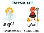 opposite words for angel and... | Shutterstock .eps vector #563033281