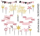 set of decoration  toppers ... | Shutterstock .eps vector #563034985