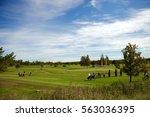 a green golf course a bright...   Shutterstock . vector #563036395